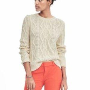 Cream Banana Republic Cable Knit Crew Sweater